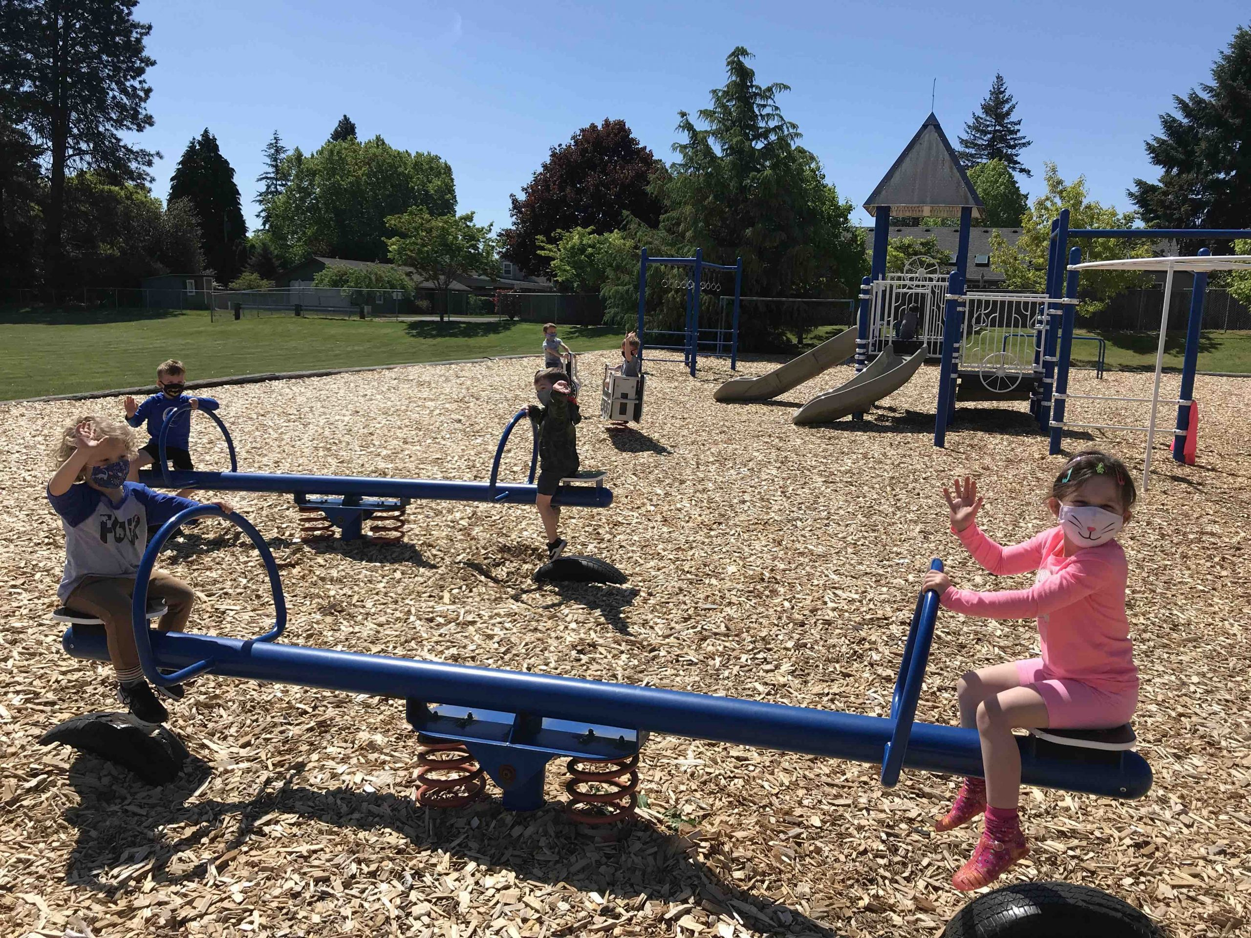 Little Blessings Preschoolers Playing on Our Lady of Lourdes Playground
