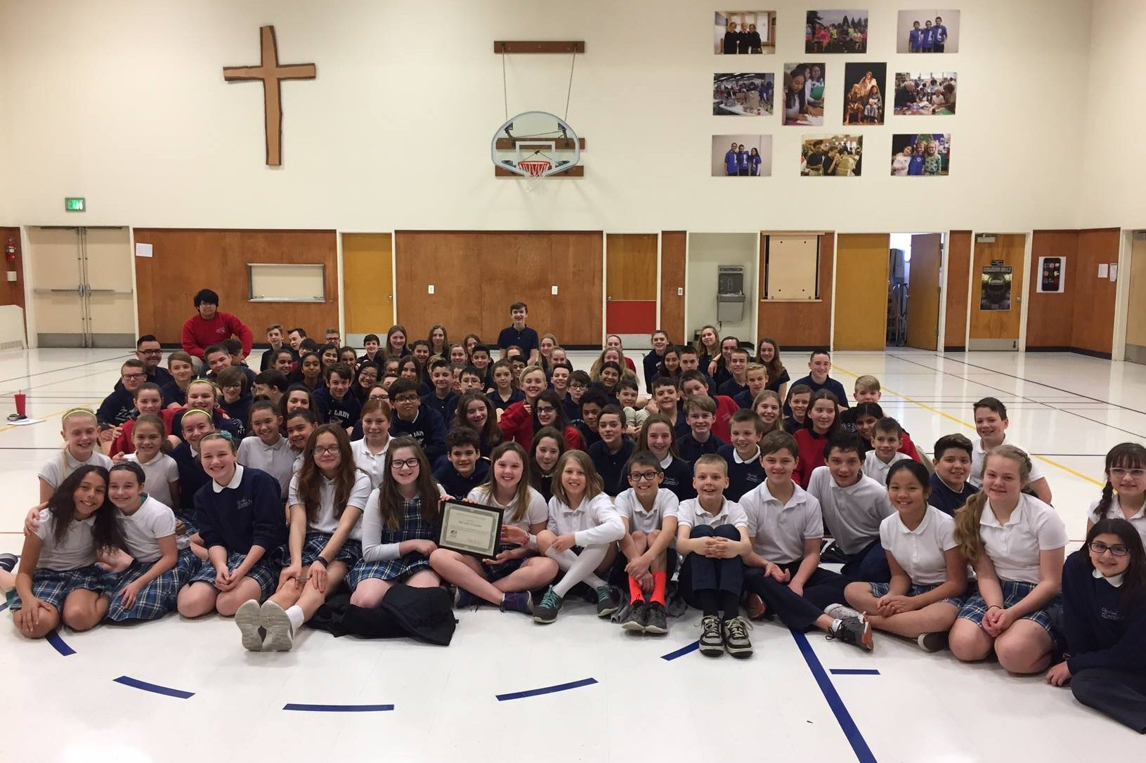 Our Lady of Lourdes Catholic School Students in Gym